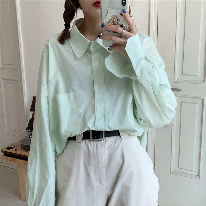 Hzirip Fresh Women Green Casual Solid Brief Girls 2020 All-Match Autumn Chic High Quality Stylish Office Lady Loose Shirts