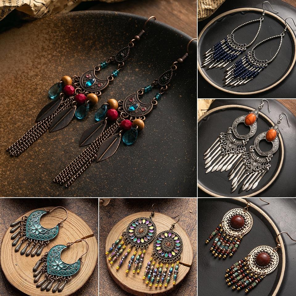 Ethnic Long Tassel Earrings For Women Vintage Beads Brincos Ear Big Drop Earrings 2019 Female Fashion Boho Jewelry Wholesale