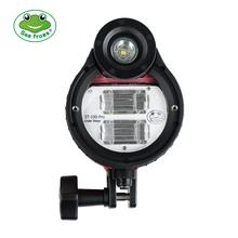 SeaFrogs ST-100 Pro wodoodporna lampa błyskowa do A6500 A6000 A7 II RX100 I II III IV V aparat podwodny obudowy futerał dla nurków cheap Lumix Fujifilm Sony Canon NIKON Olympus CN (pochodzenie) 600g 20x20x20 18650 battery 5600K 32gn Optical cable(compatible with all camera )