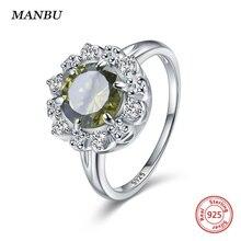New arrival silver 925 jewelry rings Green crystal zircon elegant Female Wedding luxury designer for women