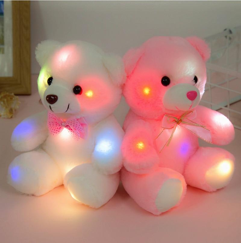 Children Birthday Girls Glowing Luminous Plush Bear Baby Toys 22CM White Lighting Stuffed Bear Lovely Gifts Toys For Children