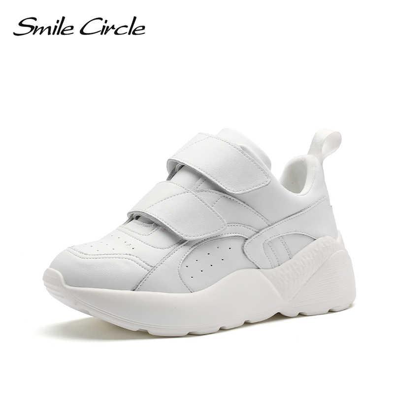 Gülümseme daire Sneakers kadınlar düz Platform ayakkabılar bahar moda rahat kalın alt tıknaz ayakkabı bayanlar ayakkabı beyaz pembe