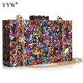 Новый Кошелек, стильная многоцветная вечерняя сумка с блестками, роскошная женская Свадебная вечерняя сумка для выпускного вечера, блестящ...