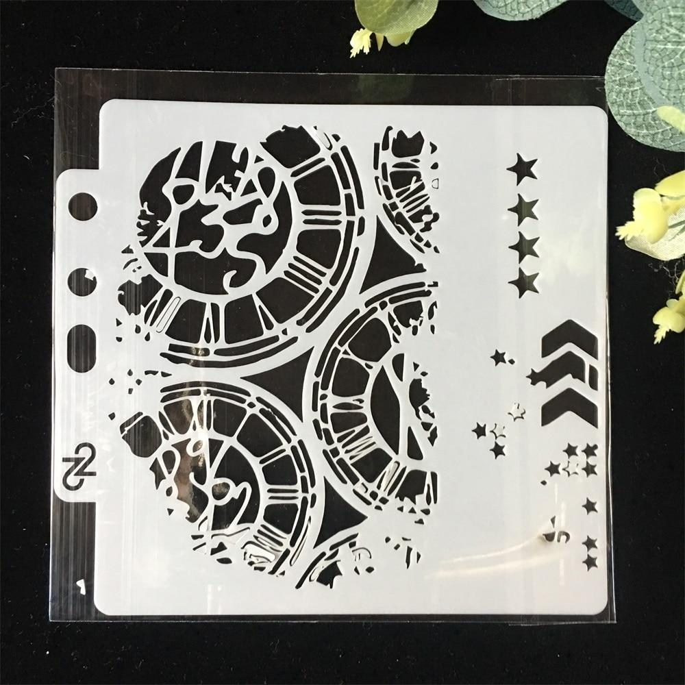 5.1inch Clock Dial Wheel Arrow Layering Stencils Painting Scrapbook Coloring Embossing Album Decorative Paper Card Template