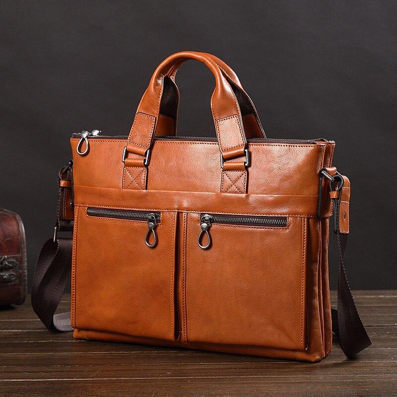 Leather Handbag Men's Bag Leather Shoulder Messenger Bag Business Men Briefcase14 Inch Document Computer Bag Fashion Casual New