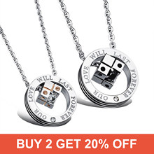 Cyue Jewelry Cube Pendant Love Rubik's Stainless Titanium Steel Couple Necklace