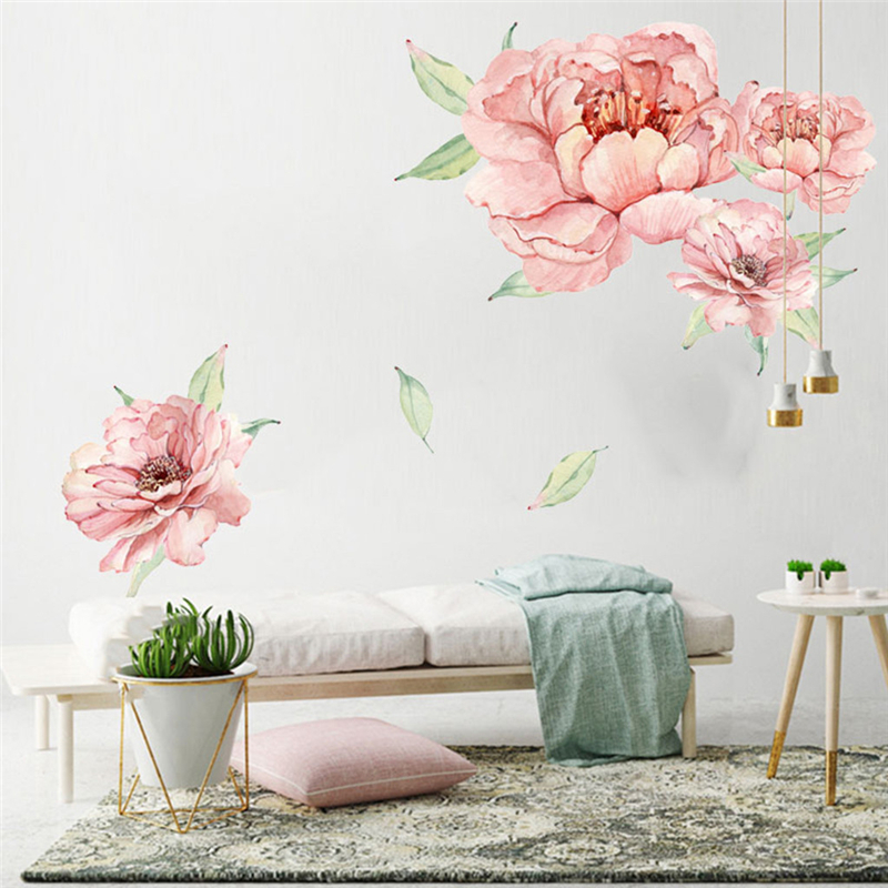 Peony Rose Flowers Wall Art Sticker Decals Kid Room Nursery Home Decor Gift New Creative Comfortable Warmth Quality Exquisite