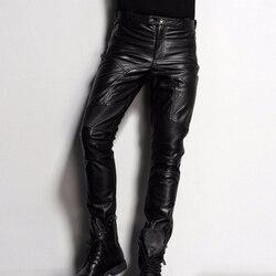 New Brand Black Genuine Leather Pants Men Fashion Casual Plus Size 35 36 Motorcycle Pants Trousers Male Joggers Pantalon Homme
