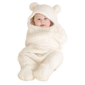 Одежда для новорожденных от 0 до 3 месяцев Одноцветный спальный мешок с милым медведем, детская одежда