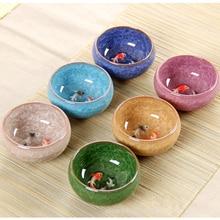 Novelty 3D Ceramic double Fish China tea Big Cup,Crackle Glaze Travel Tea Bowl Kung Fu Tea Cup SetChinese Porcelain Teacup Sets