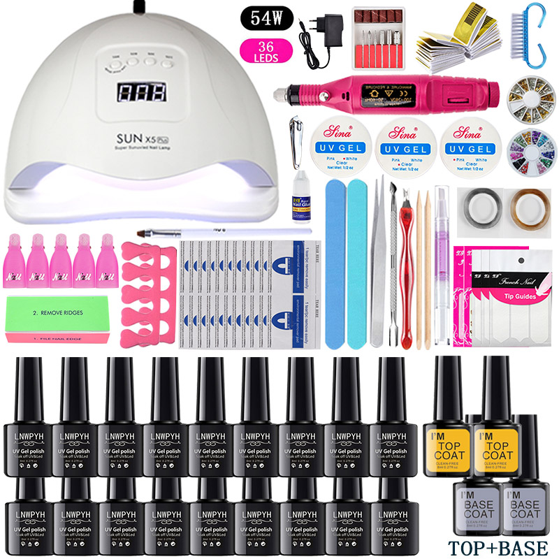 Nail Set UV LED Lamp Dryer With 18/12/10pcs Nail Gel Polish Kit Soak Off Manicure Tools Set electric Nail drill For Nail Tools