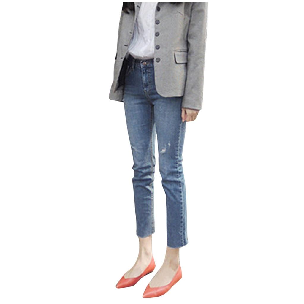 Jaycosin Autumn Fashion Ladies Casual Slim Stretch Solid Hole Jeans Elastic Skinny Stretch Female High Waisted Pencil Jeans11114