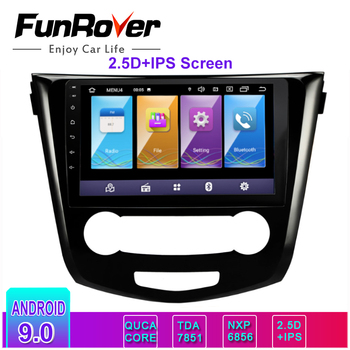 Funrover 2.5D+IPS 10.1 2 din android 9.0 Car dvd player multimedia for Nissan Qashqai 2014 -2017 gps radio navigation stereo image