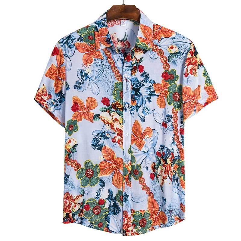 Adisputent 2020 Mens Beach Hawaiian Shirt Tropical Summer Short Sleeve Shirt Casual Loose Cotton Button Down Shirts Beach Wear