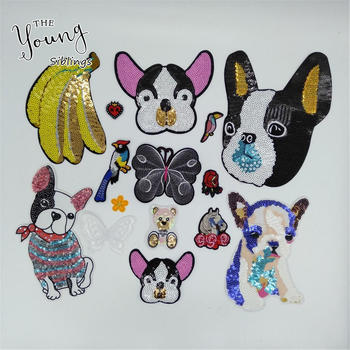 Hot sell Large Size Sequins Glittering Dog Banana Hot melt adhesive Patches For Clothes Stickers Badges DIY Clothing Accessories