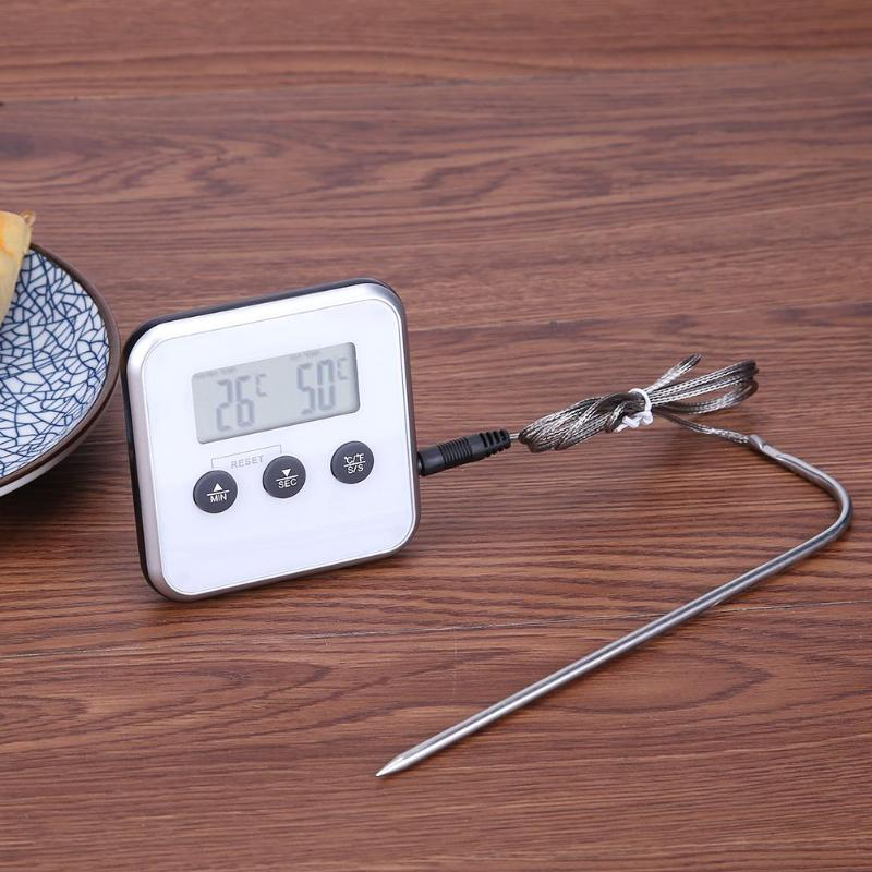 Electronic Thermometer Timer Food Meat Temperature Meter Gauge with Probe Cooking BBQ Thermometer Kitchen Temperature Tools 4