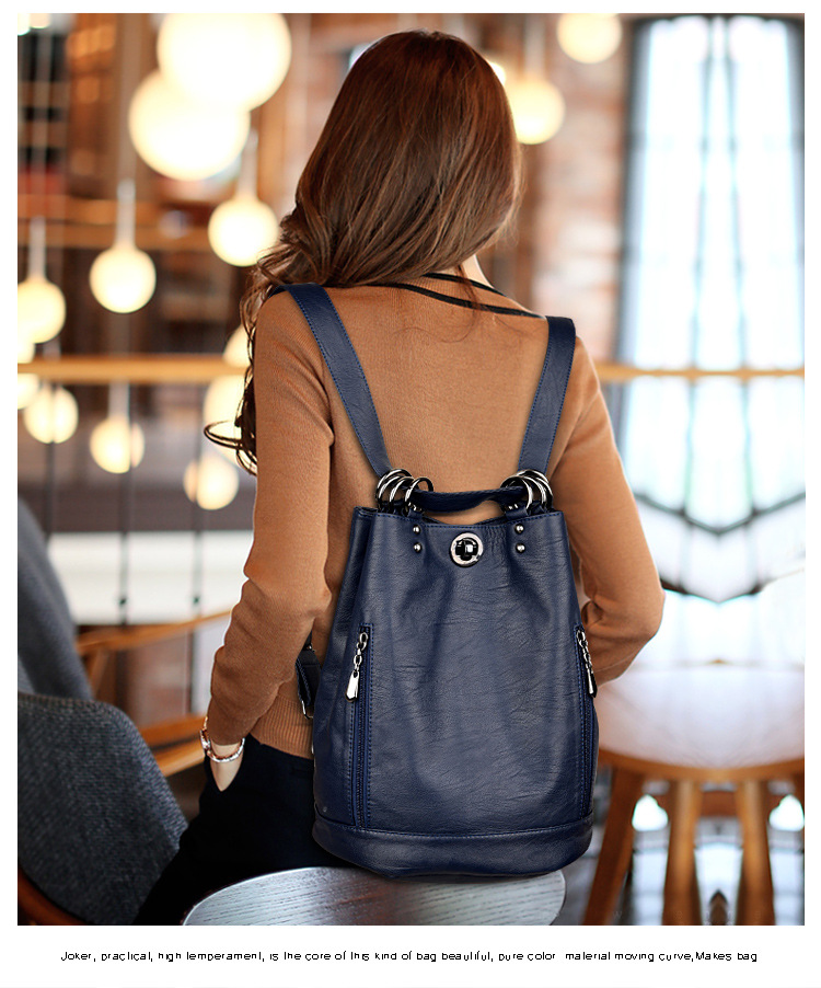 Women's backpack leather bag women's travel hanging bag high quality women's backpack fashion women's schoolbag leather bag