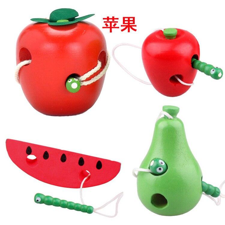 Children Early Education XIAOCHONG Eat Apple Cross Wiring Game Wooden Kindergarten Baby Finger Fine Motion Training Toy