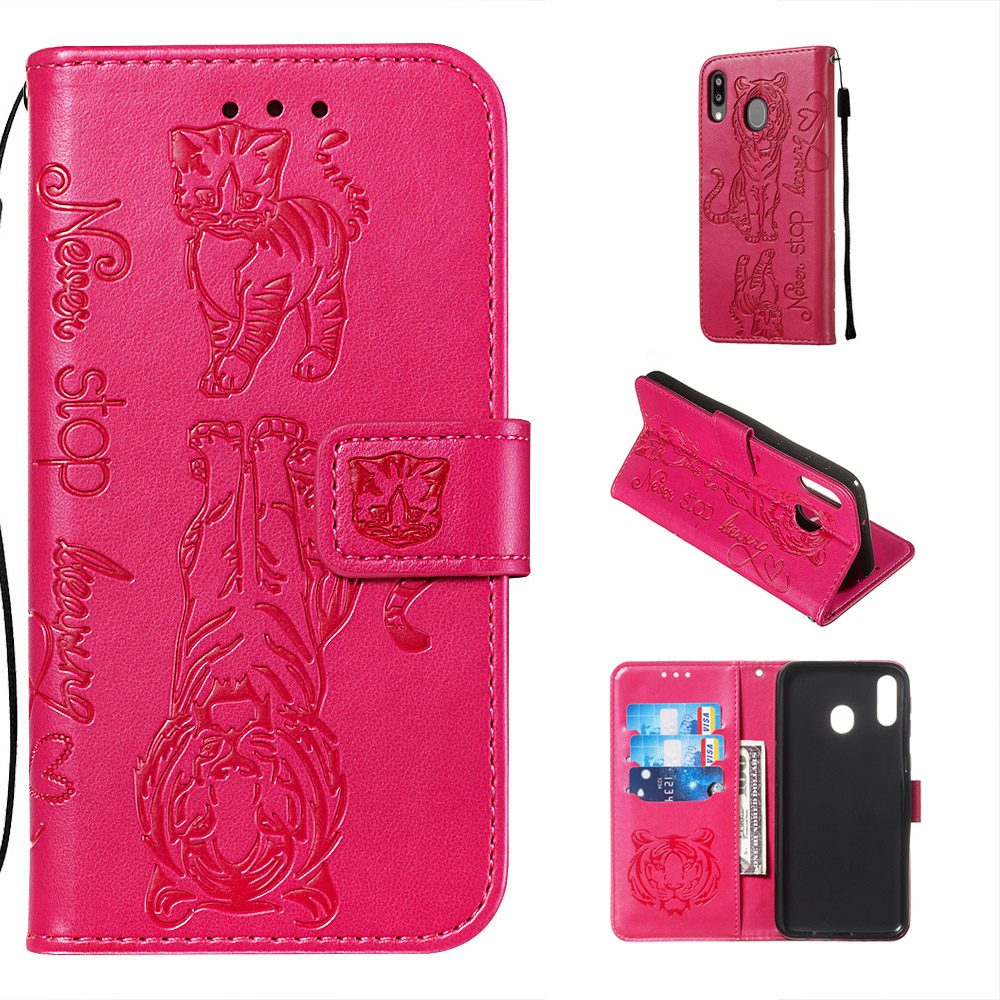 Embossing cat tiger Stand Flip PU Leather Case For samsung M10 M20 M30 M40 Cover for samsung A10 A20 A30 A40 A50 A70 A80 A90 A60
