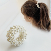 CN  1PC Cute Pearl Hair Bands For Women Girl Circle Scrunchies Ropes Accessories