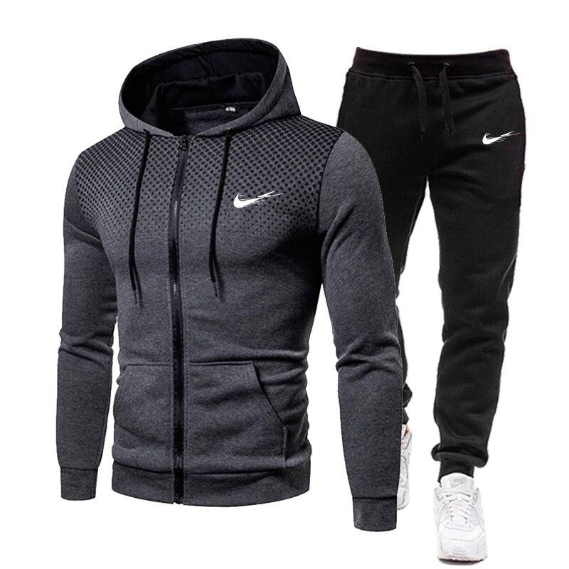 2021 new Autumn and winter Men's Sets hoodies+Pants Harajuku Sport Suits Casual Sweatshirts Tracksuit Brand Sportswear S-3XL