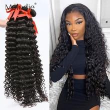 Melodie 28 30 32 40 Polegada pacotes de onda profunda 100% extensão do cabelo humano brasileiro 1 3 4 pacotes de onda de água solta feixes de cabelo encaracolado