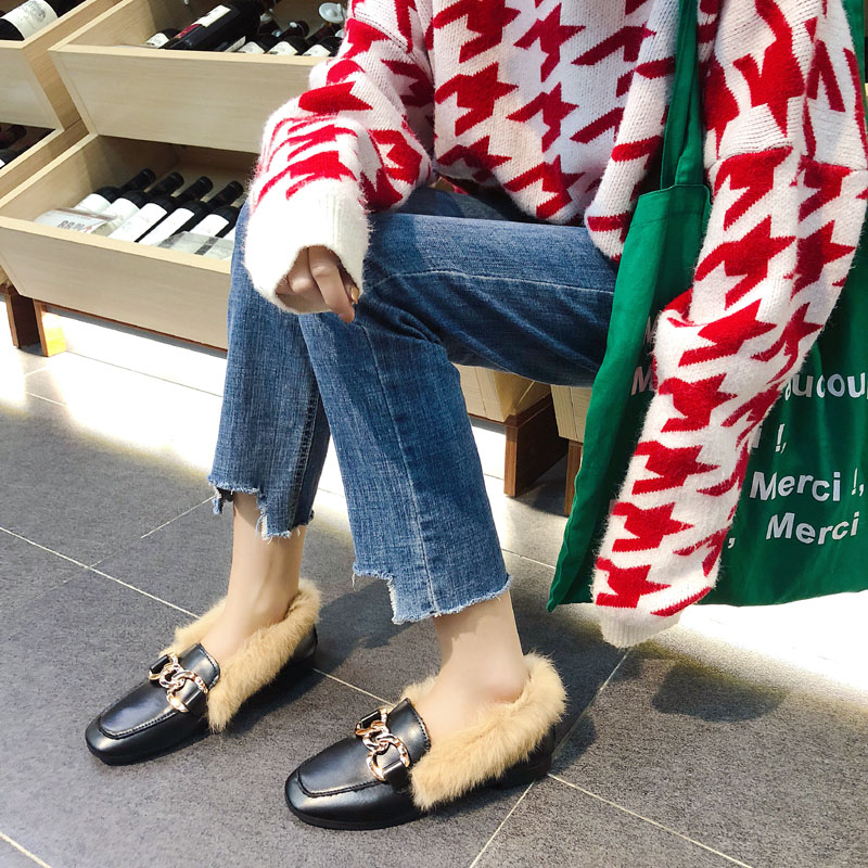 Metal chains leather flats winter loafers women shoes winter warm mules celebrity fur flat creepers soft heel moccasins mujer 44