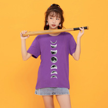 Eclipse of The Moon Printing Women T Shirt New Summer Loose Web Celebrity Ins Top