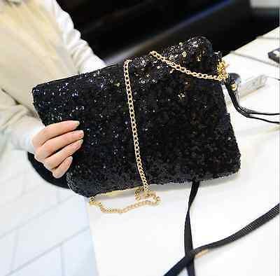New Women Ladies Glitter Sequins Handbag Sparkling Party Evening Envelope Clutch Bag Wallet Tote Purse