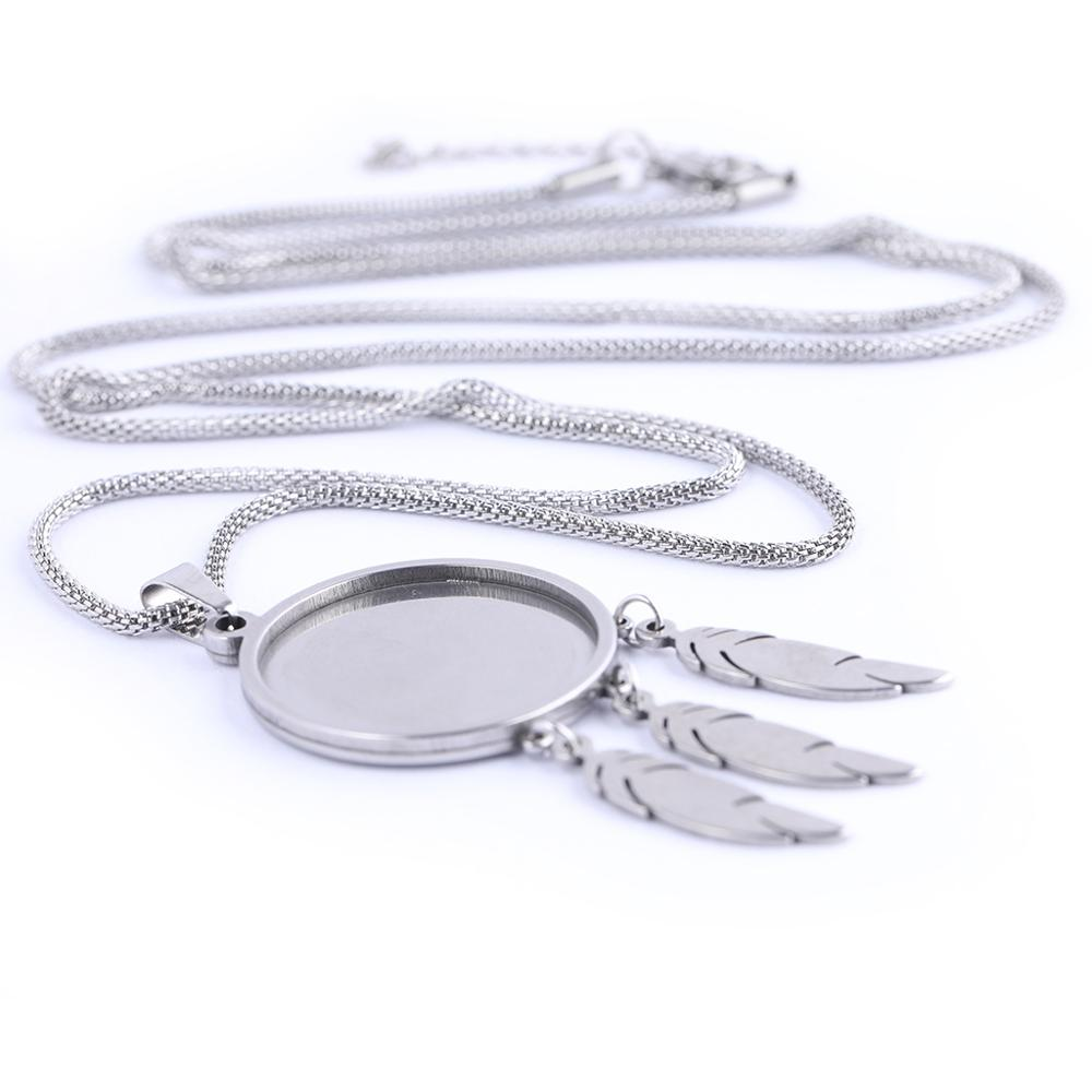 5pcs Stainless Steel Pendant Cabochon Base Setting Trays 80cm Long Chain Necklace Bezel Blanks With Feather Charms For Jewelry