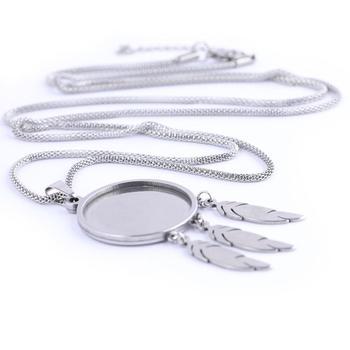 5 шт. кулон из нержавеющей стали на основе кабошона заготовки 80 см длинная цепочка ожерелье ободок украшения с перьями для ювелирных изделий