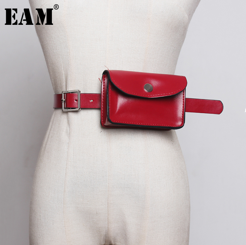 [EAM]  Pu Leather Mini-bag Stitch Long Wide Belt Personality Women New Fashion Tide All-match Spring Autumn 2020 1B378