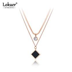 Lokaer-collier ras du cou pour femmes, Design Original, avec pendentif carré en acrylique, en acier inoxydable, chaîne CZ en cristal, N20135