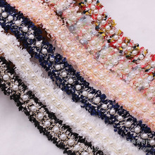 Webbing Hair-Accessories Woven Lace with DIY Clothing Fragrance Beads Pearl-Yarn Handmade