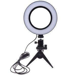 Image 2 - Светодиодная кольцевая лампа для селфи 16 см с регулируемой яркостью для камеры, кольцевая лампа для телефона, 6 дюймов, настольные штативы для макияжа, видеостудии
