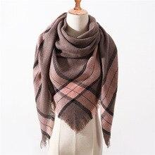 Новинка, весенне-зимний треугольный шарф для женщин, клетчатый теплый кашемировый шарф, женские шали, пашмины, Дамская бандана, обертывания, одеяло