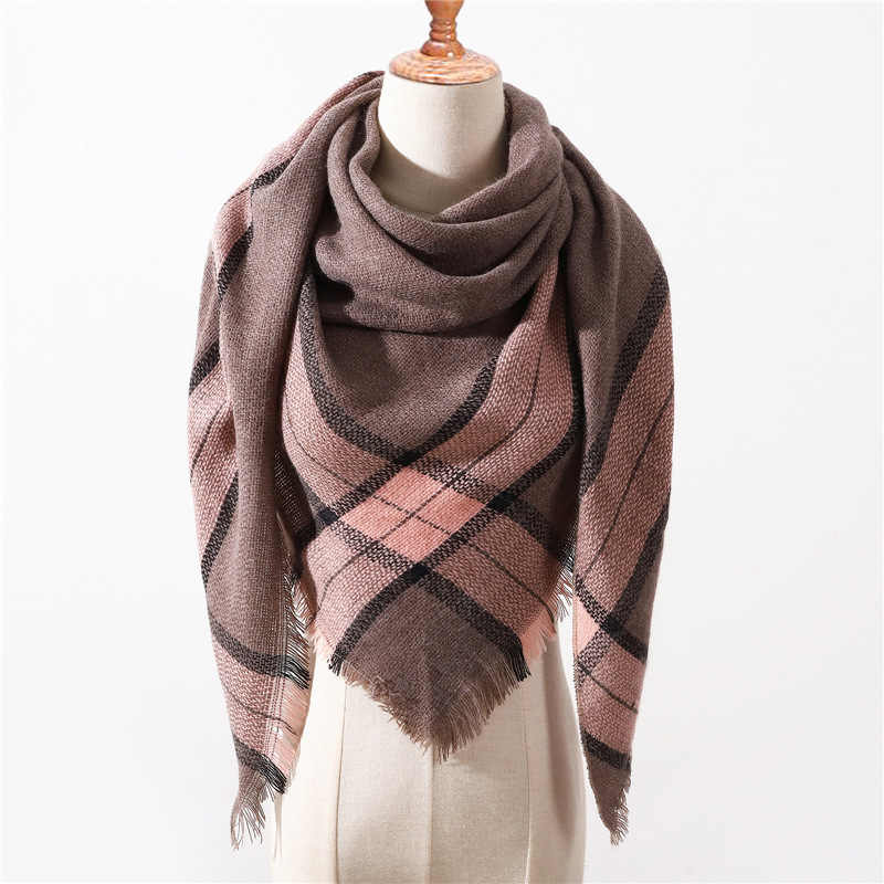 2019 New Spring Winter Triangle Scarf For Women Plaid Warm Cashmere Scarves Female Shawls Pashmina Lady Bandana Wraps Blanket