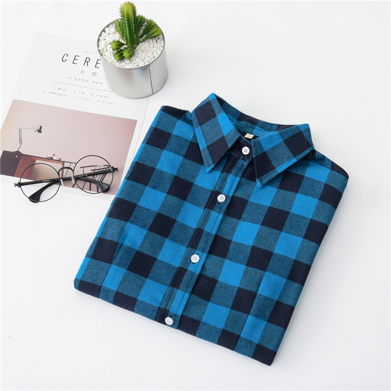 2020 New Women Blouses Brand New Excellent Quality Cotton 32style Plaid Shirt Women Casual Long Sleeve Shirt Tops Lady Clothes 37