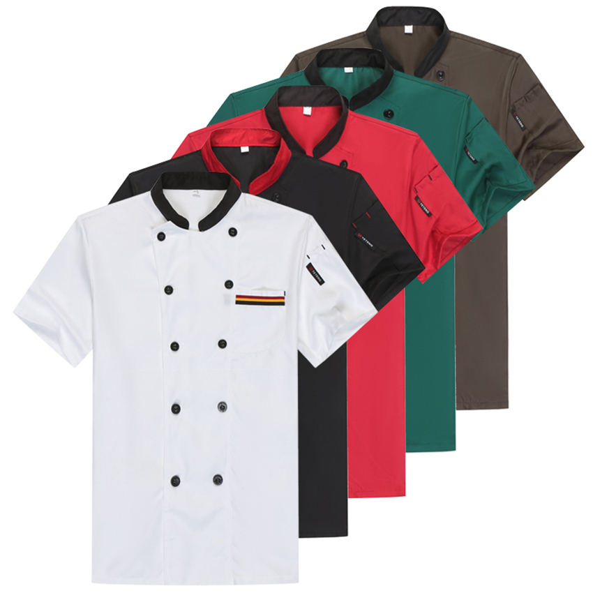 Chef Restaurant Uniforms Work Wear For Women Mens Short Sleeve Food Service Solid Cook Clothing Chef's Jackets Coat
