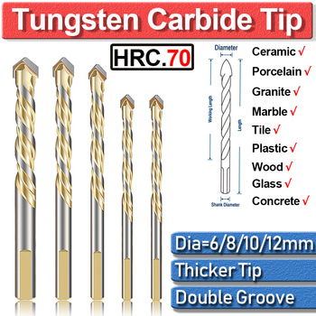 цена на 5Pcs Set Tile Drill Bits For Glass Plastic 6 8 10 12mm Tungsten Carbide Tip Multi-Material For Wood Tool Porcelain Ceramic Wall