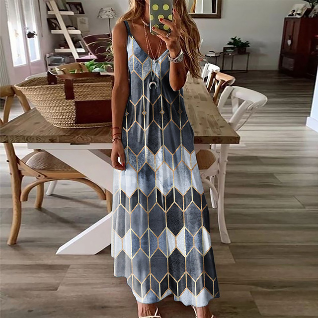 Summer Women Dresses Ladies V Neck Sleeveless Casual Printed Camisole Long Dress for Women 2021 Fashion Loose A-Line Dress 4