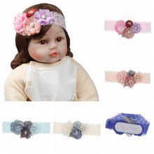 Infant Baby Lace elastic Headband Rhinestone Flowers hairband Princess Girls Bow Headband Children cute lace Hair Accessories(China)