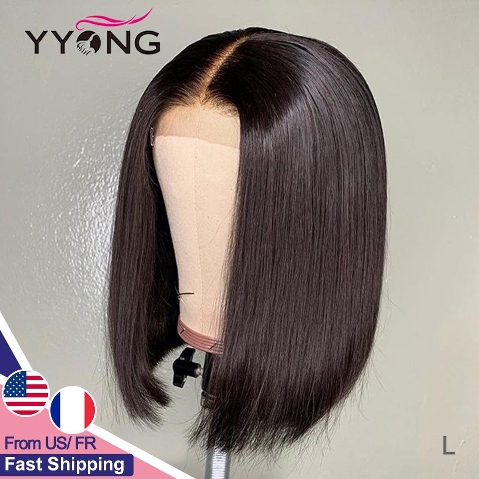 Parrucche con chiusura in pizzo 4x4 parrucca Bob corta diritta brasiliana parrucca con chiusura in pizzo Remy per donne nere capelli umani reali a basso rapporto 120%