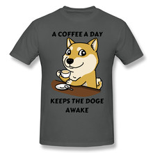 Engraçado bonito um café um dia mantém a camisa doge awake t plus size algodão manga curta camisas