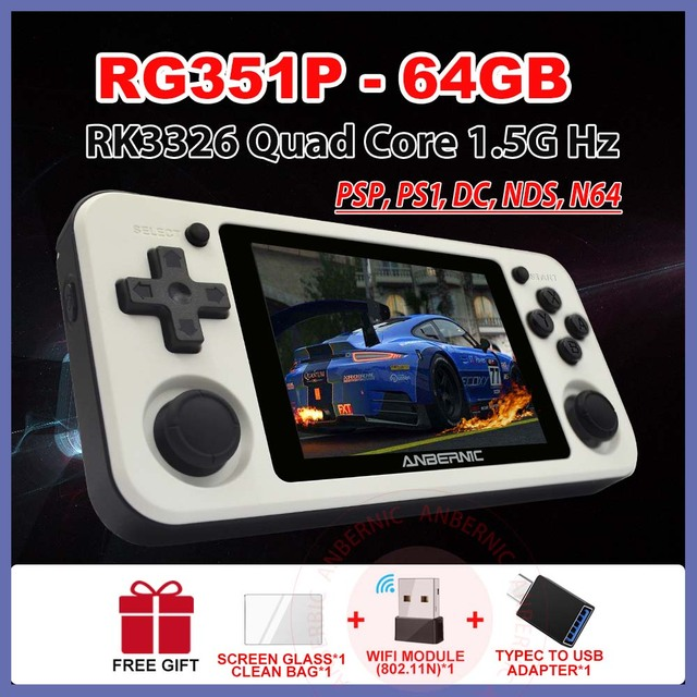 ANBERNIC RG351P Handheld Game Player 64GB Emuelec Open System PS1 64Bit 2500 Games IPS Screen Portable RG350P Retro Game Console