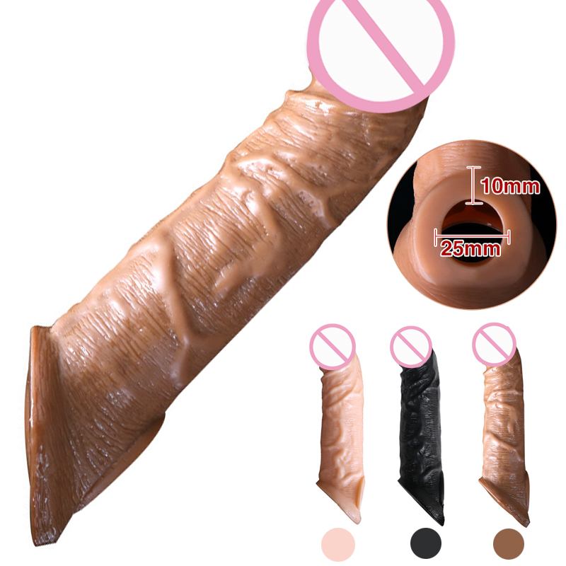 Reusable Penis Sleeve Extender Realistic Penis Condom Silicone Extension Sex Toy  title=