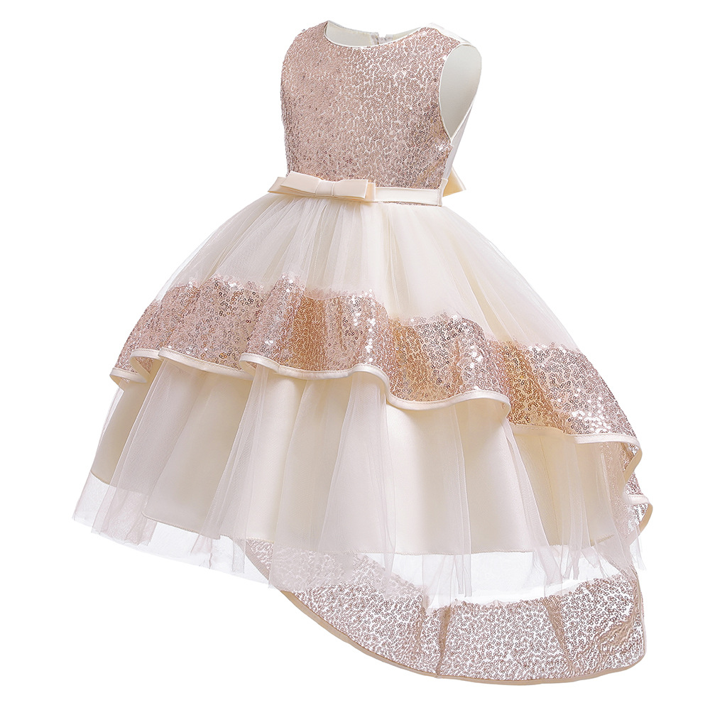 CHILDREN'S Dress Childrenswear Sequin Princess Dress Girls Tailing Flower Boys/Flower Girls Catwalks Dress Puffy Mesh Dress