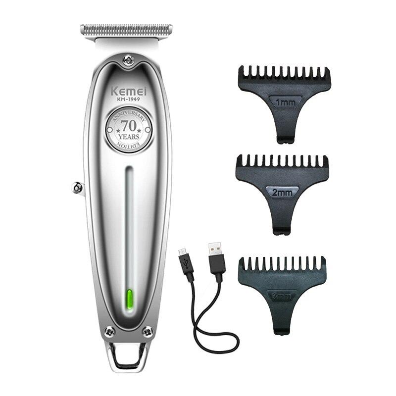 כל-מתכת שיער גוזם מקצועי גוזז למספרה נטענת גברים חשמלי זקן מכונת גילוח קירח שיער מכונת חיתוך