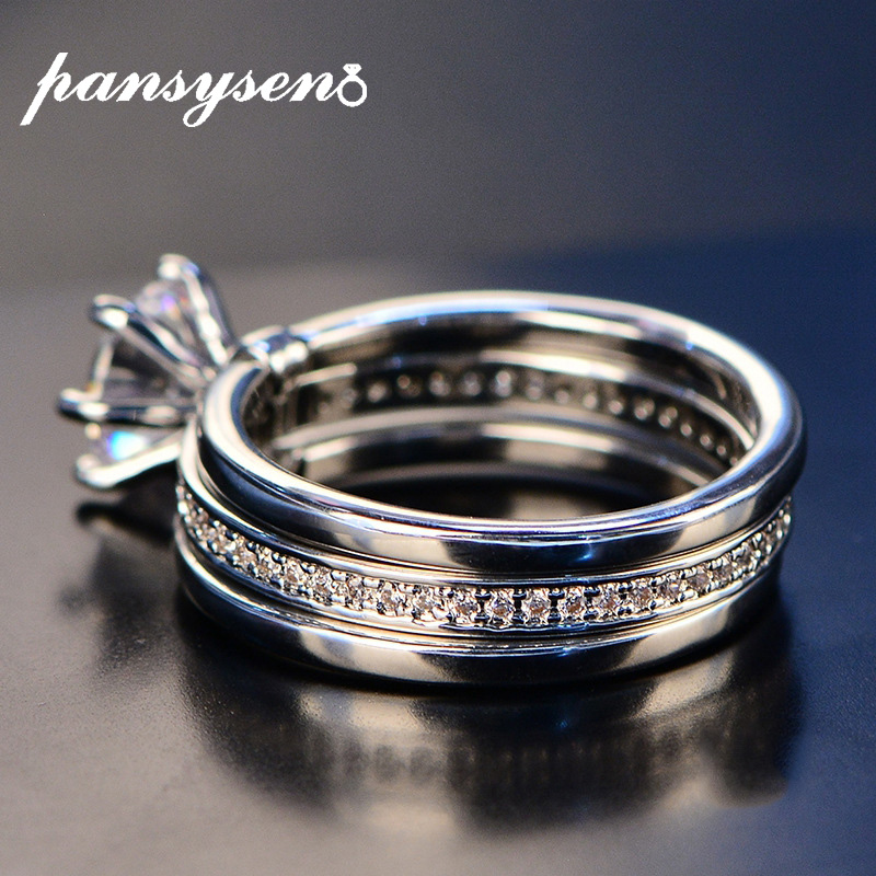 PANSYSEN 7mm Round White 4A Zircon Ring Set Genunie 925 Silver Jewelry Classic Promise Bridal Engagement Wedding Rings For Women