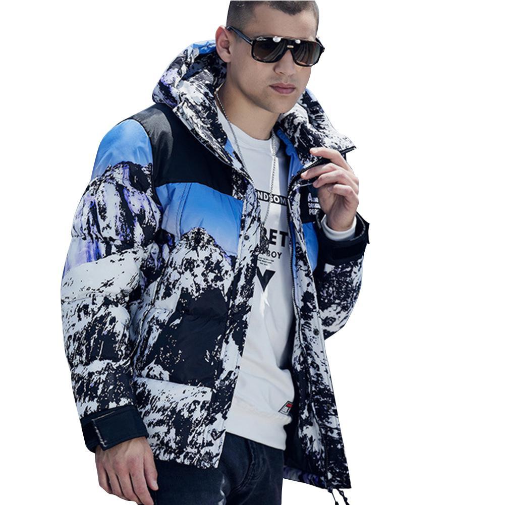 MISSKY 2019 nouveau hiver à capuche hommes Parkas extérieur lâche épaissir à capuche neige montagne motif coton vêtements bas manteau hommes hauts